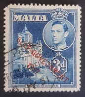 """1948, King George Vl And Local Motives, Overprinted """"Self-Government-1947"""", Malta, Used - Malte"""