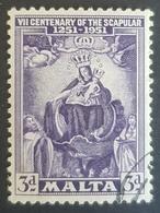 1951, The 700th Anniversary Of The Scapular, Malta, Used - Malte