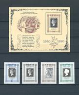ST. KITTS & NEVIS, 1990, Penny Black 150th Anniversary, Stamp World London S/S + 4v MNH - St.Kitts-et-Nevis ( 1983-...)