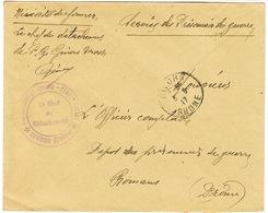ENVELOPPE EN FRANCHISE TAMPON PRISONNIER DE GUERRE GIVORS RHONE - Guerra Del 1914-18