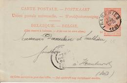 """België ENTIER Nr. 25 """"FRAMERIES 28 AVRIL 1899"""" MET PRIVAATOPDRUK / REPIQUAGE """"Cie CHARBONNAGES BELGES A FRAMERIES, Mons"""" - Entiers Postaux"""