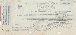 Cambiale Con Marca Da Bollo SOCIETA' VENETA DI MACINAZIONE Di Padova - 1938 - Cambiali
