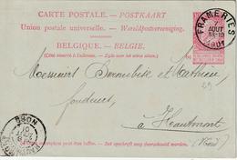 """België ENTIER Nr. 29 """"FRAMERIES 7 AOUT 1901"""" MET PRIVAATOPDRUK / REPIQUAGE """"Cie CHARBONNAGES BELGES à FRAMERIES, Mons"""" - Entiers Postaux"""