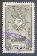 1948-1950, Venezuela, Airmail, The 1st Anniversary Of Greater Colombia Merchant Marine, Used - Venezuela