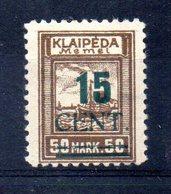 XP4536 - LITUANIA MEMEL KLAIPEDA 1923 , Unificato N. 181  Nuovo *  Escoriazione Al Retro (2380A) . - Lituanie