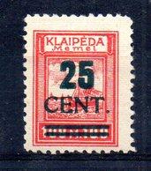 XP4537 - LITUANIA MEMEL KLAIPEDA 1923 , Unificato N. 182  Nuovo *  Escoriazione Al Retro (2380A) . - Lituanie