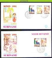 Mel151fb KINDERZEGELS ROLSTOEL STAMPS FOR THE CHILDREN WHEEL CHAIR JUGENDWOHLFAHRT CHILD SURINAME 1991 FDC's E151+151A - Kindertijd & Jeugd