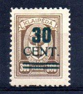 XP4538 - LITUANIA MEMEL KLAIPEDA 1923 , Unificato N. 183  Nuovo *  Escoriazione Al Retro (2380A) . - Lituanie
