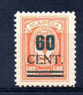 XP4539 - LITUANIA MEMEL KLAIPEDA 1923 , Unificato N. 184  Nuovo *  (2380A) . - Lituanie