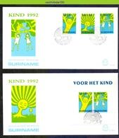 Mel161fb KINDERZEGELS STAMPS FOR THE CHILDREN JUGENDWOHLFAHRT SURINAME 1992 FDC's E161+161A - Andere