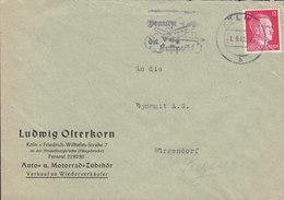 Germany Deutsches Reich LUDWIG OSTERKORN Auto- U. Motorrad-Zubehör Slogan Flamme 'Luftpost' KÖLN 1942 Cover Brief - Deutschland