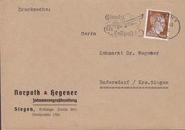 Germany Deutsches Reich NORPOTH & HEGENER Zahnwarengosshandlung Slogan Flamme 'Luftpost' SIEGEN 1943 Cover Brief - Deutschland