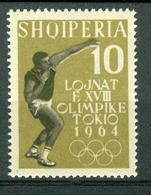 BM Albanien 1962 | MiNr 661 A | MNH | Olympische Sommerspiele, Tokio, Kugelstoßen - Albanie