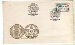 CZECHOSLOVAKIA CESKOSLOVENSKO CECOSLOVACCHIA 1977 GOTTWALDOV 25th ANNIVERSARY FDC COVER - FDC