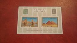 Fujeira 1966 - 100 Annyversary Egyptian Stamps - Imperf Sheet Mi 2B HINGED - Piramid Sfinx Archeology Egypt - Fujeira