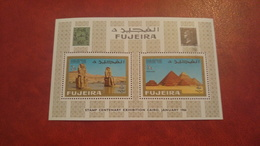 Fujeira 1966 - 100 Annyversary Egyptian Stamps - Perf Sheet Mi 2A With Fault - Piramid Sfinx Archeology Egypt - Fujeira