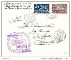 Schweiz Suisse 1933: Kongress Für Touristik Und Verkehr Flug 5+9 Mi 180+184 O ST.GALLEN 30.III.33 >ZÜRICH (Zu CHF 80.00) - Poste Aérienne