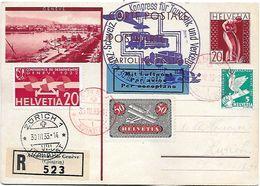 """Schweiz Suisse 1933: CPI """"GENÈVE"""" O Kongress Für Touristik Und Verkehr Flug 9Y+17 Mi 184+257 O GENÈVE 30.III.33 > ZÜRICH - Poste Aérienne"""
