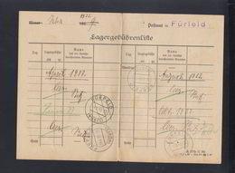 Dt. Reich Lagergebührenliste Fürfeld 1933 - Deutschland