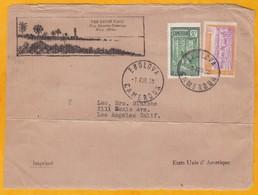 1938 - Devant D' Enveloppe Illustrée D' Ebolova, Cameroun Vers Los Angeles, Etats-Unis - Affranchissement 35 C - Cameroun (1915-1959)
