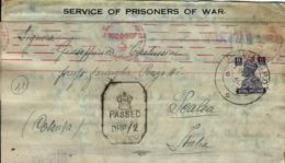 BIGLIETTO CAMPO PRIGIONIERI INDIA POW CAMP 26 YOL 1942 X SCALEA NAZI CENSOR - Military Mail (PM)