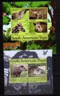 GUYANA, 2018, MNH,FAUNA, SOUTH AMERICAN TAPIRS,   SHEETLET+ S/SHEET - Stamps