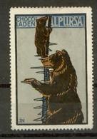 S7630 - DR Werbe Vignette Reklamemarke Bär,Alpursa Schokolade,um 1910: Ungebraucht Ohne Gummi. - Erinnophilie