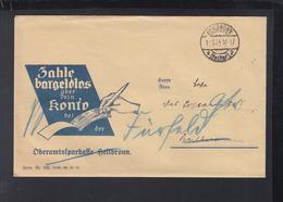Dt. Reich Brief 1934 Heilbronn An Postamt Fürfelden Werbung Oberamtssparkasse - Deutschland