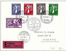 Schweiz Suisse 1939: BALLON-WETTFLIEGEN Zur EXPO Zu Flug No.7+228-231 Mi 182+344-347 > BÄRETSWIL 14.V.39 (Zu CHF 150.00) - Poste Aérienne
