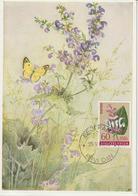 Yougoslavie Carte Maximum Fleurs 1961 Sauge 849 - Cartes-maximum