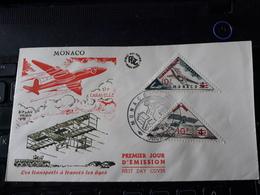 Monaco - FDC YT 459 Et 460 - Les Transports à Travers Les âges - Surchargé De 10 - 1956 - FDC
