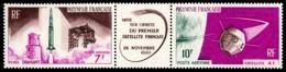 POLYNESIE 1966 - Yv. PA 18A **   Cote= 15,00 EUR - Tryptique 1er Satellite Français  ..Réf.POL23560 - Poste Aérienne