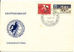 Germany DDR FDC 3-8-1960 Complete Set Of 2 World Championship Cycling With Cachet - Cyclisme