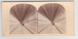 Stereoscopische Kaart.    TheNiagara Suspension Bridge. Interior View - Cartes Stéréoscopiques