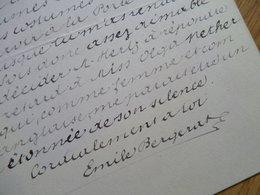 Emile BERGERAT (1845-1923) Poète GONCOURT. Gendre Théophile GAUTIER. AUTOGRAPHE - Autographes