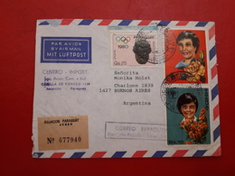 Paraguay Enveloppe Envoyé En Argentine Avec Sonnette De L'année De L'enfant Et Jeux Olympiques - Paraguay