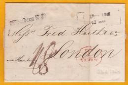 1845 - Lettre Pliée Avec Correspondance De Riga, Lettonie, Russie Vers Londres, Grande Bretagne, Via Hamburg, Allemagne - Lettonie