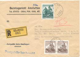 Austria Registered Cover Sent To Germany Amstetten 24-3-1967 Postgebühr Bar Bezahlt - 1945-.... 2nd Republic