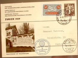 Schweiz Suisse 1939: BALLON-WETTFLIEGEN Auf EXPO-PK CPI TRACHTENHOF MIT TRACHTENTURM Zu 9 Mi 184 O ZÜRICH 14.V.39 - Entiers Postaux