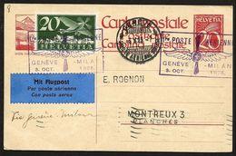 Suisse Svizzera 1925: Bild-PK CPI De SION-HAUDERES Premier Poste Aérien Genève-Milano 3.X.1925 Avec Zu F4 Mi 213 Yv PA4 - Entiers Postaux