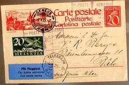 Suisse Svizzera 1925: Bild-PK CPI De LAUSANNE Premier Poste Aérien Genève-Milano 3.X.1925 Avec Zu F4 Mi 213 Yv PA4 - Poste Aérienne