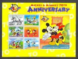 Nap681c WALT DISNEY 70TH ANNIVERSARY MICKEY AND MINNIE MOUSE HORSE DOG BIRDS DOMINICA 1998 PF/MNH #READ# - Disney