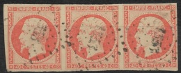 France-N°16 Oblitéré Losange Petit Chiffre 1353 De Fumay Ardennes-Bande De 3 - 1853-1860 Napoleon III