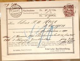 Suisse Svizzera 1901: Nachnahme-Karte Mit Zu 64B Mi 57Y Yv 70 O ST.GALLEN 20.XI.01 > ST.GEORGEN (Zu CHF 70.00) - Lettres & Documents