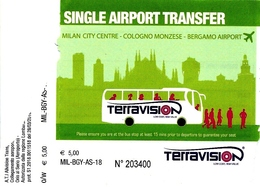 BIGLIETTO Utilizzato     SINGLE  AIRPORT  TRANFER   -  MILANO  >  ORIO AL SERIO   -    Anno 2018. - Autobus