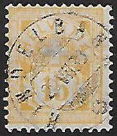 Schweiz Suisse 1882: Faser-Papier Mélée Zu 63A Mi 56X Yv 68 - 15c Gelb Mit O HINDELBANK 20.VII.88 (Zu CHF 45.00) - 1882-1906 Armoiries, Helvetia Debout & UPU