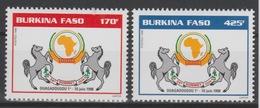 Burkina Faso 1998 Mi. 1501 - 1502 Sommet OUA OAU Horse Cheval Pferd Faune Fauna Landkarte Map Carte 2 Val. ** - Geografia