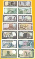 Lebanon Set 1, 5, 10, 25, 50, 100, 250 Lira P-61 - 67 1980-1988 UNC Banknotes - Libano