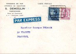 1f,75 Léopold III Poortman Sur CP Fonderie DEMOULIN Farciennes Oblit Chemin De Fer, Gare Le Campinaire Par EXPRESS 1941 - Chemins De Fer