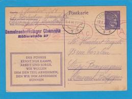 GANZSACHE VOM GEMEINSCHAFTSLAGER CHEMNITZ,MIT ZENSURSTEMPEL,NACH STREPY-BRACQUENIES, HAINAUT-BELGIEN. - Deutschland